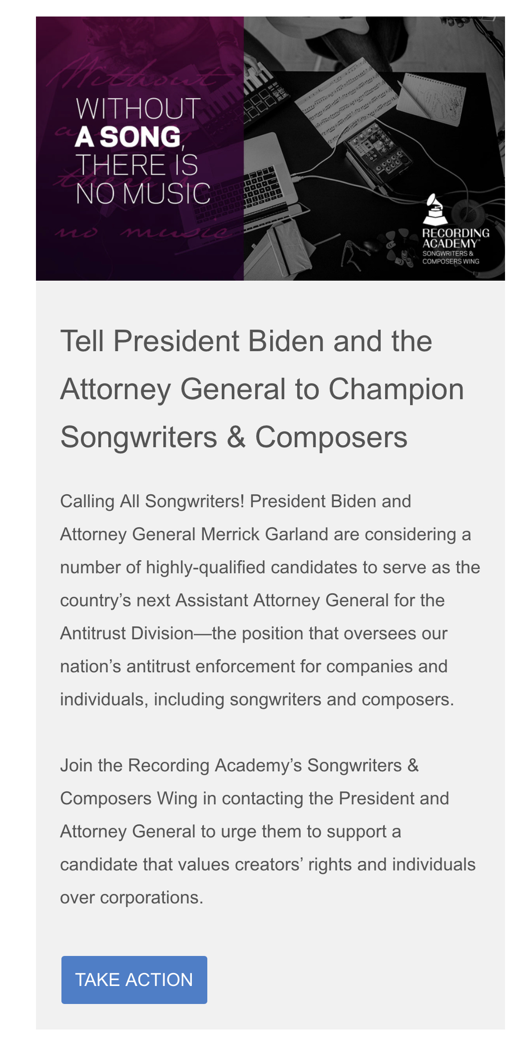Take action Grammy advocacy